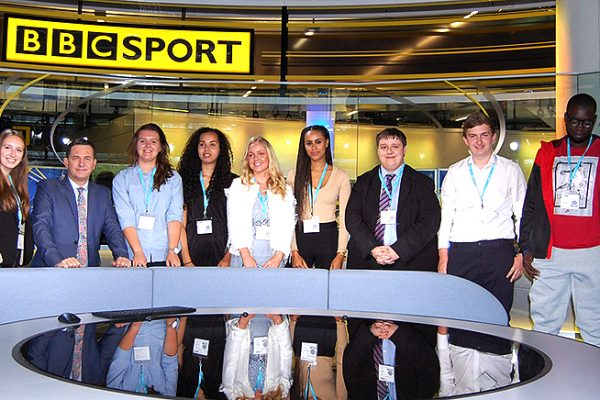 Group of student reporters visiting BBC Sport